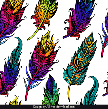 feather pattern template colorful classical handdrawn sketch