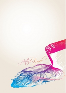 artwork painting feather paint drops sketch 3d design