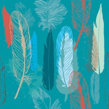 feathers hand drawing background vectors