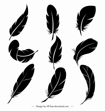 feathers icons black silhouettes handdrawn sketch
