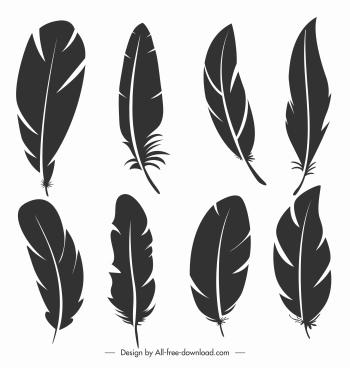 feathers icons dark black flat sketch