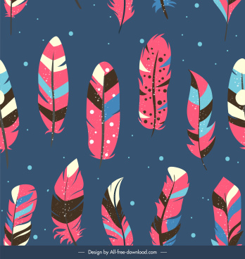 feathers pattern colorful classic flat decor tribal symbols