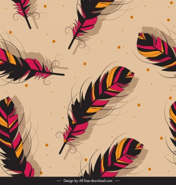 feathers pattern dark colorful classical decor