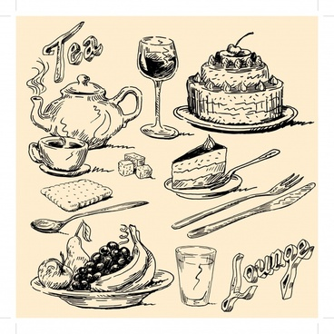 meal design elements retro black white handdrawn sketch