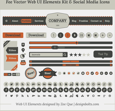 fee vector simple web ui elements kit social media icons set