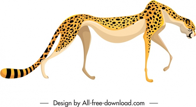 felidae species icon spotted leopard sketch
