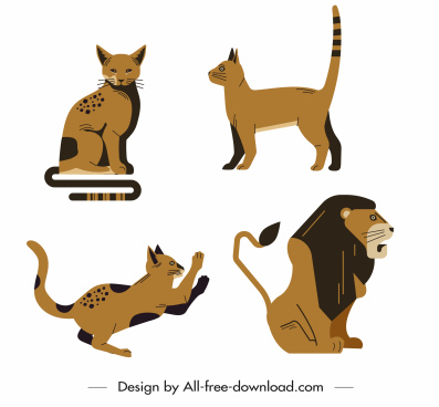 feline animals icons cat lion sketch