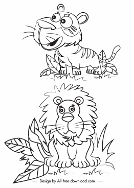 feline icons black white lion tiger handdrawn sketch