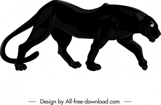 feline species icon black panther sketch