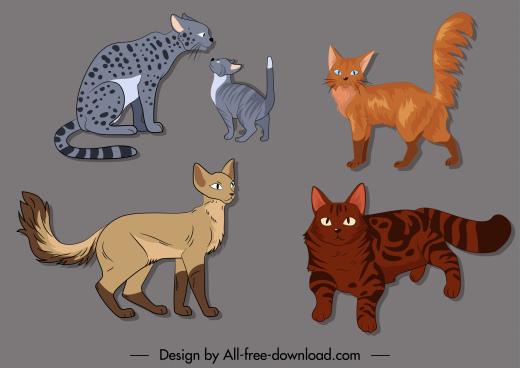 feline species icons cute cartoon sketch