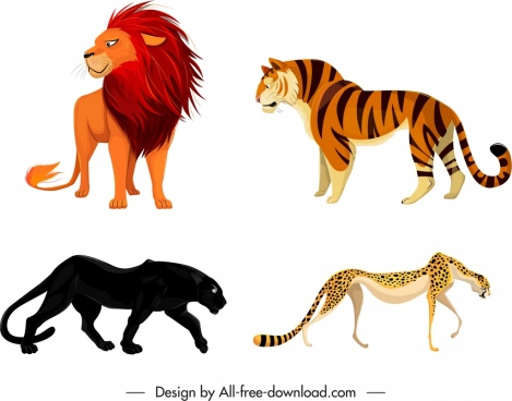 feline species icons tiger lion leopard panther sketch