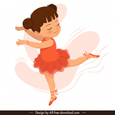 female ballerina icon dancing gesture cartoon character