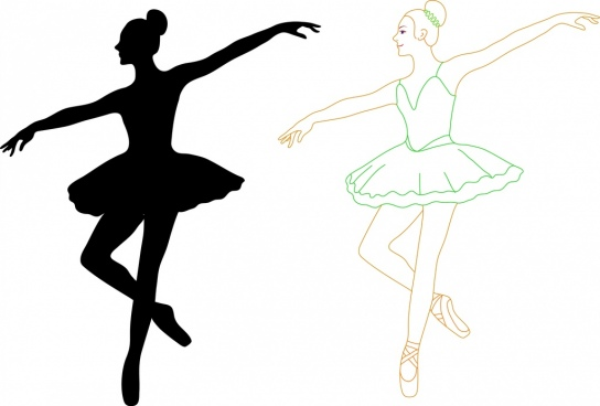 female ballet dancers outline silhouette colored style decoration