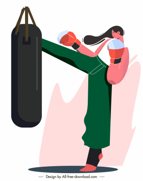 female boxer icon dynamic design cartoon character