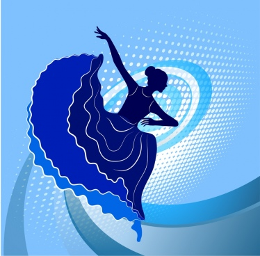 female dancer icons blue silhouette curved lines background