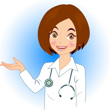 female doctor icon cartoon character design