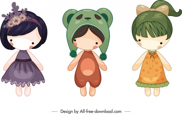 female doll templates colorful cute cartoon sketch