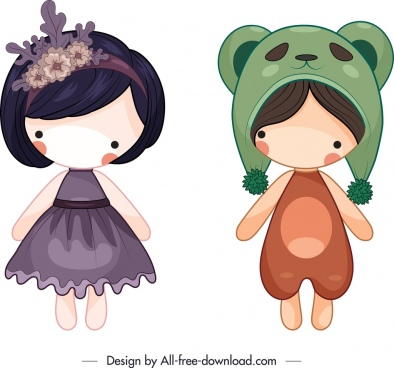 female dolls icons colored lovely design