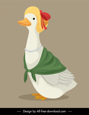 female duck icon funny stylized sketch