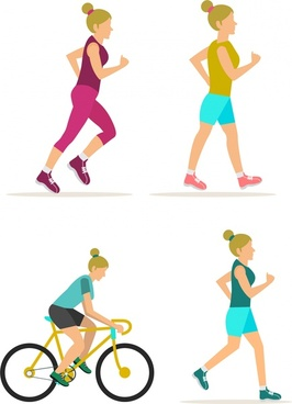 female exercise icons in flat colored design