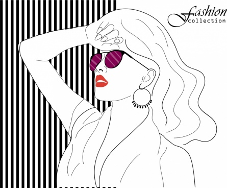 female fashion background beautiful lady icon handdrawn sketch