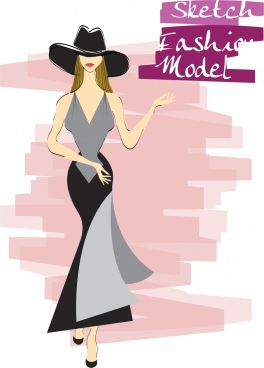 female fashion background elegant woman icon sketch