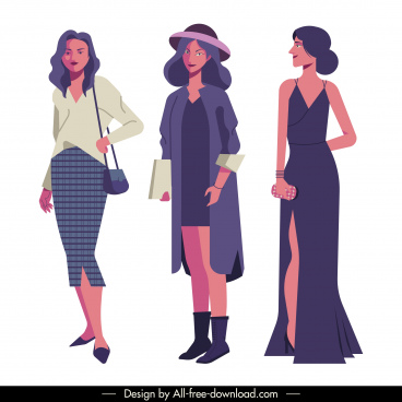 female fashion icons elegant design cartoon characters sketch