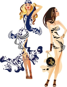 female fashion illustrator 04 vector