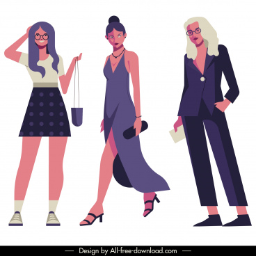 female fashion models icons modern design cartoon characters