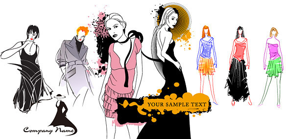 female fashion models vector