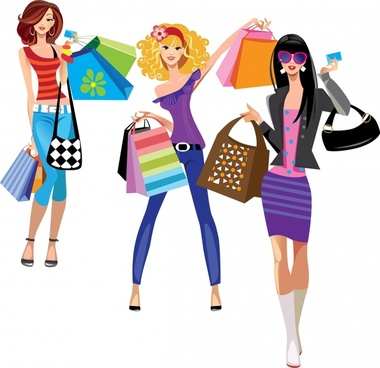 female fashion trend of shopping bags vector illustration silhouettes