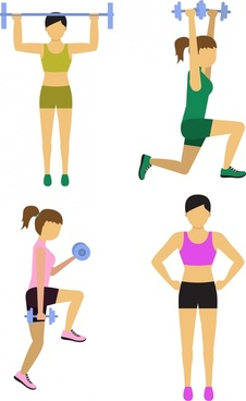 female fitness icons various types in color design