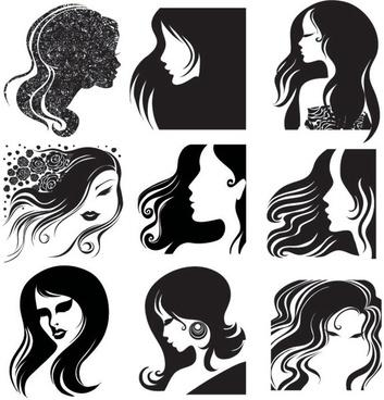 female head silhouette vector
