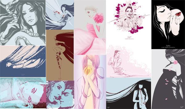 female illustrator vector