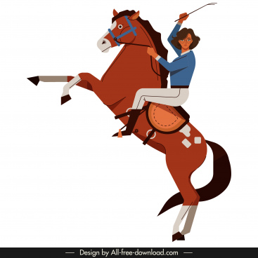 female jockey icon colored cartoon character sketch