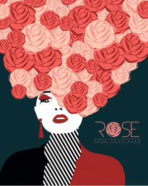 female model icon red rose hair style design