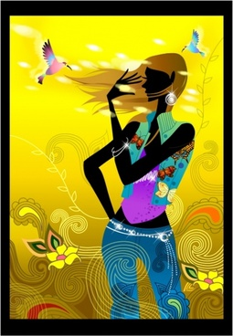 fashion background lady birds icons colorful silhouette decor