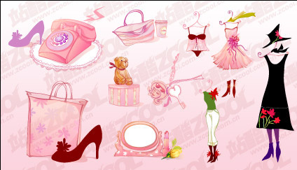 Female pink icon vector material-1