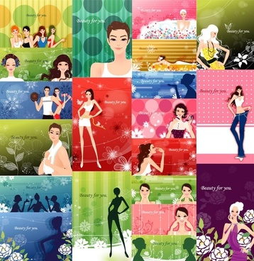 female plants with fashion pattern vector 2