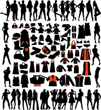 fashion design elements silhouette design people accessories icons