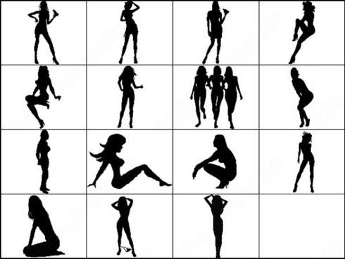 female silhouettes brush