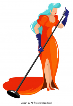 female singer icon colored cartoon character sketch