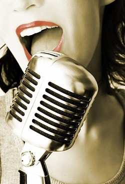 female singer in the recording closeup picture