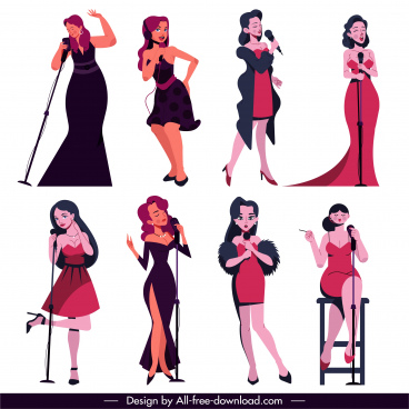 female singers icons performing sketch colored cartoon characters