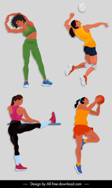 female sports icons dynamic design cartoon characters sketch