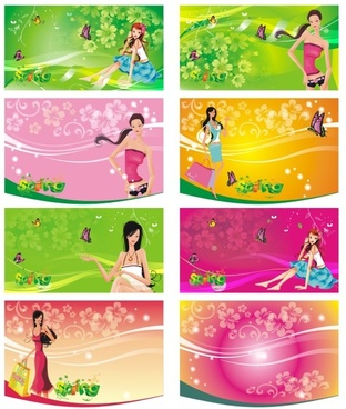 female supermarket shopping card vector
