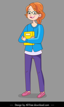 female teenager icon cute cartoon character sketch