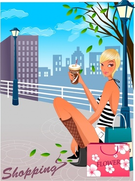 lifestyle background attractive fashionable woman icon cartoon sketch