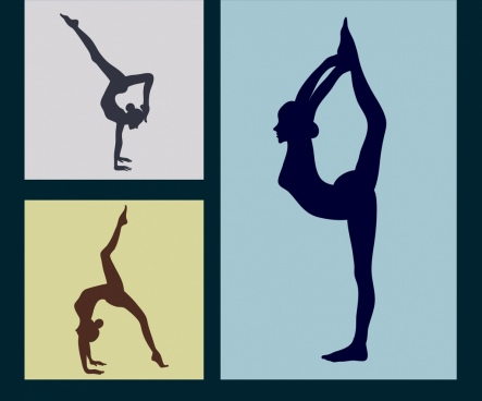 female yoga icons flat silhouettes isolation