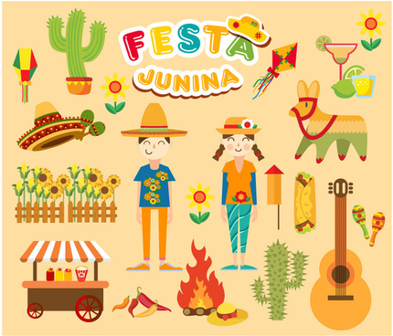 festa junina festival vector illustration with various styles